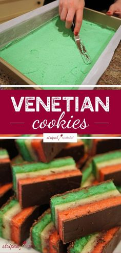 Venetian Cookies (also known as Italian Rainbow, and Neapolitans) are layered petit fours with almond sponge cake, jam, and melted chocolate. Sponge Cake Recipes, Cookie Recipes, Dessert Recipes, Bbq Desserts, Chinese Desserts, Chinese Food, Italian Rainbow Cookies, Italian Cookies, Chocolate Sponge Cake