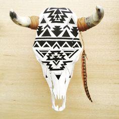 Black // White Hand Painted Navajo Geometric Cow Skull (360.00 USD) by huntedfoxshop