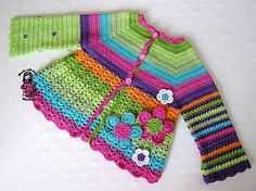 crochet Flower Cardigan pattern, needs some tweaking, but VERY cute! Crochet Girls, Crochet Baby Clothes, Crochet For Kids, Simple Crochet, Crochet Gratis, Knit Crochet, Ravelry Crochet, Knitting For Kids, Baby Knitting