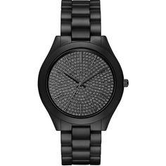 Michael Kors Slim Runway Pave  Ceramic Bracelet Watch, MK3449 ($350) ❤ liked on Polyvore featuring jewelry, watches, extra, relógios, black, black ceramic watches, watch bracelet, water resistant watches, michael kors jewelry and michael kors watches