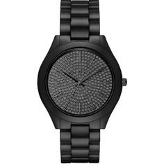Michael Kors Slim Runway Pave  Ceramic Bracelet Watch, MK3449 ($350) ❤ liked on Polyvore featuring jewelry, watches, extra, relógios, black, dial watches, michael kors, michael kors jewelry, black watches и ceramic bracelet watch