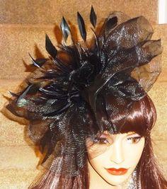 Large Black Crin Fascinator Hat on Band 679826