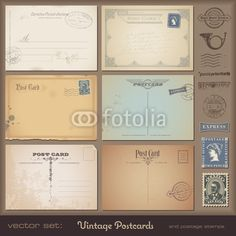 Vector: set of blank antique postcards plus stamps #vector #download #image #royalty #free #printable #scrap #scrapbook #scrapbooking #diy #paper #graphic #old #illustration #vintage #retro #antique #decorative #border #frame #decor #decoration #page #book #design #label #tag #sticker #coupon #ornament #ornate
