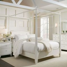 White Full Size Canopy Bed Frame