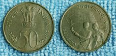 1947-1972 IND FIFTY PAISE 25th swatantra jayanti