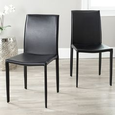 Safavieh Jazzy Bonded Leather Black Side Chairs (Set of 2) - Overstock™ Shopping - Great Deals on Safavieh Dining Chairs