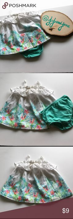 Baby Hawaiian Print Dress White tank dress with teal and pink Hawaiian  print around bottom.  Comes with a pair of soft cotton bloomers. Excellent condition. Also looks great paired with a pair of leggings and sandals for cooler days. Brand is Little Wonders. Dresses