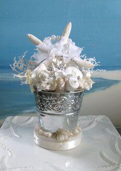 Seashell Wedding Cake Topper Bucket Starfish By CeShoreTreasures