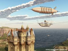 Fantasy airship over a Scottish castle by Michael Rosskothen