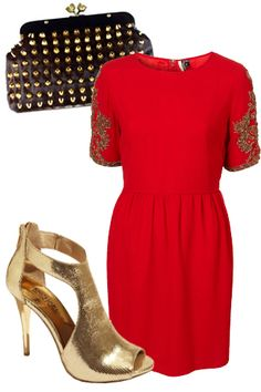 I could wear this outfit....Topshop dress, House of Harlow clutch, MK shoes. Yes please.