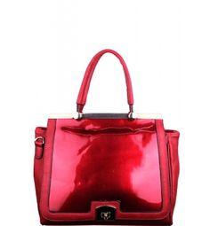 Patent Flap Fashion Satchel Red