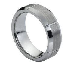 Tungsten Carbide Brushed Beveled Edge Vertical Grooves Divide Ring 7MM