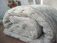 Текстиль, ковры ручной работы. Ярмарка Мастеров - ручная работа. Купить Вязаный плед из буретного шелка. Handmade. Бежевый