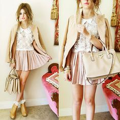 Marc By Jacobs Blazer, Romwe Petal Collar, Wholesale Dress Lace Crop Top, Romwe Accordion Pleat Skirt, Valentino Studded Bag, Jeffrey Campbell Pixie Wedges - PINKS AND PETALS - Bebe Zeva