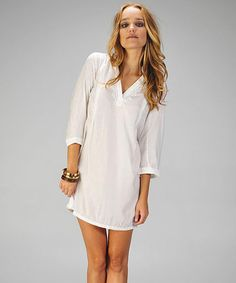 Take a look at this Off-White Embroidered Three-Quarter Sleeve Tunic by Coveted Closet: Women's Trends on #zulily today!