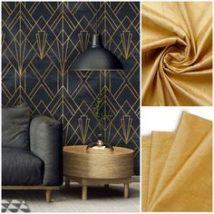 Golden Mustard silk curtains and roman shades Silk Curtains, Condo Decorating, Roman Shades, Mustard, Wall Lights, Pure Products, Living Room, Interior Design, Modern