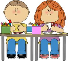 Kids in Art Class Clip Art