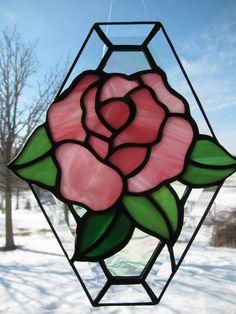 Beveled Edge Rose Suncatcher by StainedGlassByBev on Etsy