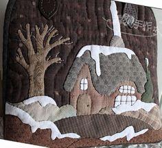tote with snow scene applique