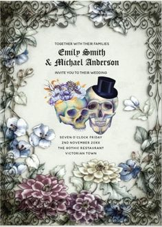 This amazing Vintage Gothic Skulls Purple Orange Flowers Goth Wedding Invitation is the perfect idea for Halloween and dia de los muertos wedding theme. A beautiful gothic design style features watercolor purple orange flowers, skulls and vintage style calligraphy and typography. These wedding invites are part of wedding stationery collection if the same chic, you can edit and personalize it with your own wedding details. #Hallowedding Halloween Wedding Invitations, Creative Wedding Invitations, Blush Wedding Invitations, Watercolor Wedding Invitations, Printable Wedding Invitations, Wedding Invitation Design, Wedding Stationery, Invites, Halloween Weddings