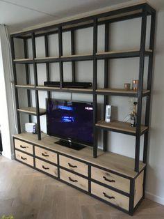 Massief eiken / stalen tv meubel op maat