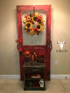 Mixed rustic red and barn red black and brown wax for the door and chocolate mixed with pinecone with dry brushed mud puddle. By: Lea Nicole Saunders #dixiebellepaint #bestpaintonplanetearth #chalklife #homedecor #doityourself #diy #chalkmineralpaint #chalkpainted #easypeasypaint #makingoldnew #whybuynew #justpainting