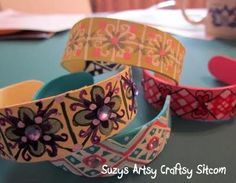 popsicle stick bracelets....can soak in water overnight or boil for 15 min. to make them pliable...then curve, dry and decorate with paint, scrapbook paper, stickers, ribbon, yarn, twine and/or rhinestones and nail decals, then modge podge!