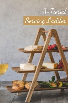 Space-saving and stylish. Made of Natural Acacia with removable trays on a collapsible ladder for easy storage. 18x8.375x14.75. #ad #wineandcheese #partyplanning