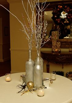 Gold Sparkle  Spray Painted Wine Bottles Paint these with silver