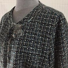 Cato Womens Tweed Woven Blazer Jacket Sz 16 Teal Brown & White Ribbon Accents