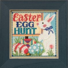 Easter Hunt is the title of this cross stitch kit from Mill Hill Designs. The kit includes Beads,ceramic button, perforated paper, floss, needles, chart and instructions. The frame is not included.