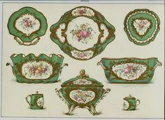 Vintage Sevres Soft Porcelain Garnier #10 Table Pieces Baron Alph de Rothschild