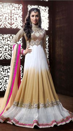Haider girl shraddha kapoor cream floor length stylish anarkali dress anks1134