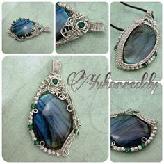 Pendant made with blue and green flash labradorite wrapped in sterling silver with swarovski crystal accents.