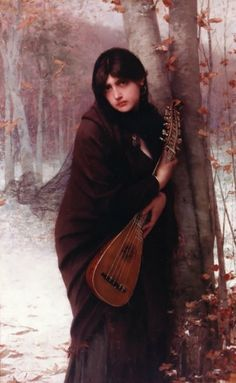 Girl with a Mandolin (1870). Jules Joseph Lefebvre (French, Academic, 1836-1911). Oil on canvas.