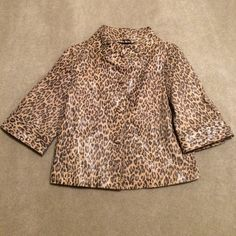 LAL Tiger Print Glitter Shimmer Leather Coat Awesome LAL Tiger Print Coat in tan & brown with a bit of glittering shimmer. NO TRADES NO HOLDS I IGNORE LOWBALLERS LAL Jackets & Coats Pea Coats
