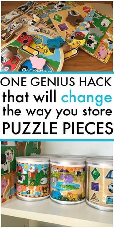 Genius Hack That Will Change the Way You Store Puzzles Best mom hack for puzzles. Organize your puzzle pieces in just 4 quick steps.Best mom hack for puzzles. Organize your puzzle pieces in just 4 quick steps. Puzzle Storage, Kids Storage, Daycare Storage, Storage Ideas, Daycare Setup, Toy Storage Solutions, Lego Kits, Puzzles For Toddlers, Preschool Activities