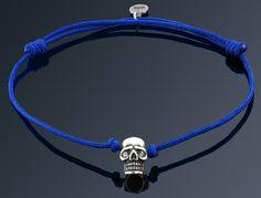 Silver Plated Skull on Black String Bracelet - Imperi. Diamond Eyes, Skull Bracelet, Silver Plate, Plating, Bracelets, Aur, Black, Silverware Tray, Black People
