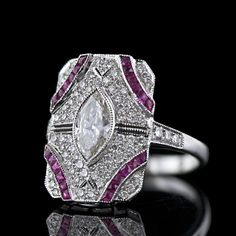 Art Deco marquise diamond and ruby dinner ring | More on the myLusciousLife blog: www.mylusciouslife.com