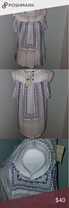 Lucky Brand Off the Shoulder Size M NWT Top Lucky Brand Off the Shoulder lace and button top. Size M NWT Navy and White. 9790456720 Lucky Brand Tops Tees - Short Sleeve