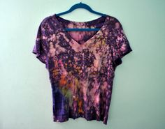 Bleach Splatter Galaxy Tee / Purple Multi Color Upcycled V-Neck Top by skella, $25.00