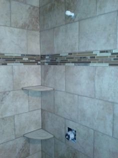 Stone Inset Bathroom Remodel Grab bars Tile showers and Nook