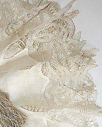 Antique Handmade Lace Linen Pochette Handkerchief-Brussels, tape, needle, pocket,romantic,1800's