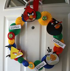 Angry bird wreath for door