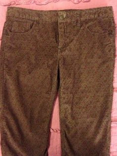 Free People Corduroy Brown Floral Pants Jeans Stretch Anthropologie 31 Boho #FreePeople #Corduroys