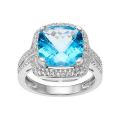 Blue Topaz & Lab-Created White Sapphire Square Halo Ring A cushion-cut genuine blue topaz stone serves as the focal point on this square halo ring, while lab-created white sapphires add endless sparkle. Blue Topaz Stone, Blue Topaz Ring, White Sapphire, Cushion Halo, Right Hand Rings, Halo Rings, Jewelry Rings, Women Jewelry, Jewels