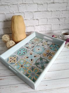 wooden tray hand-painted romantic breakfast decorative tray decor for bright kitchen hand painted tray gift for mom Easter decor Romantic Breakfast, Breakfast Tray, Painted Trays, Hand Painted, Thrift Store Crafts, Bright Kitchens, Tea Tray, Tray Decor, Craft Party