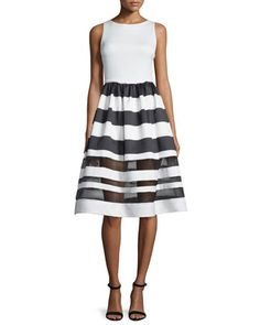 Sleeveless Larue Striped Combo Dress, Black/White by Alice + Olivia at Neiman Marcus.