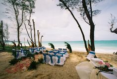 alohaisland weddings set up of chairs on the beach chapel in the sand