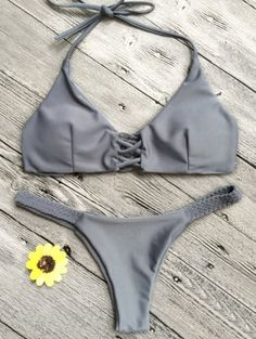 SHARE & Get it FREE | Crisscross Macrame Halter Bikini Set - GrayFor Fashion Lovers only:80,000+ Items • New Arrivals Daily Join Zaful: Get YOUR $50 NOW!